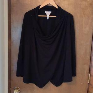 Black drape front nursing cardigan